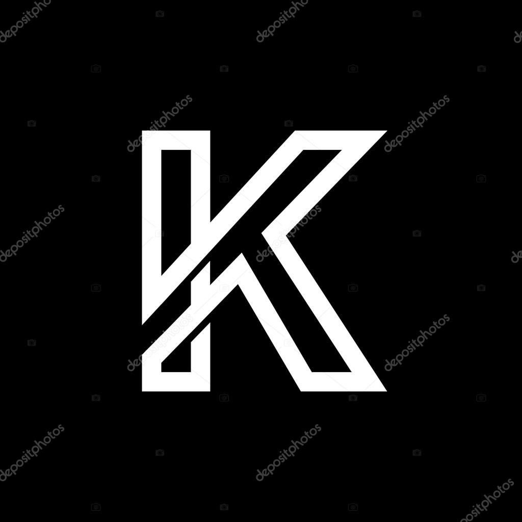 Capital Letter K From The White Interwoven Strips On A Black Background Template For Emblem Logos And Monograms Vector By PGMart