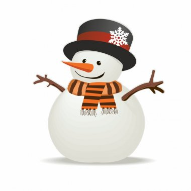 Snowman with hat and striped scarf