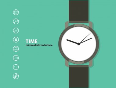 Time. Minimalistic Web and mobile interface template. with a wristwatch and a set of icons. flat design. stock vector