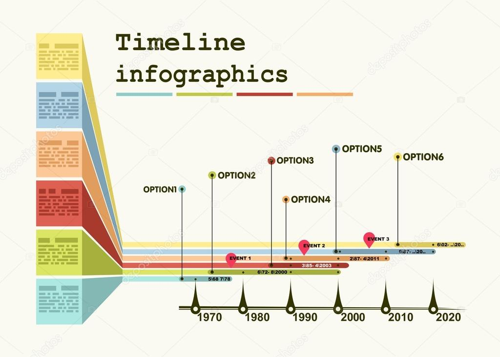 timeline infographic with diagrams and graphics stock vector