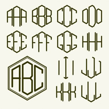 Letters inscribed in a hexagon in Art Nouveau style