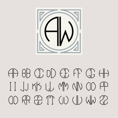 Set of templates of letters inscribed in a circle