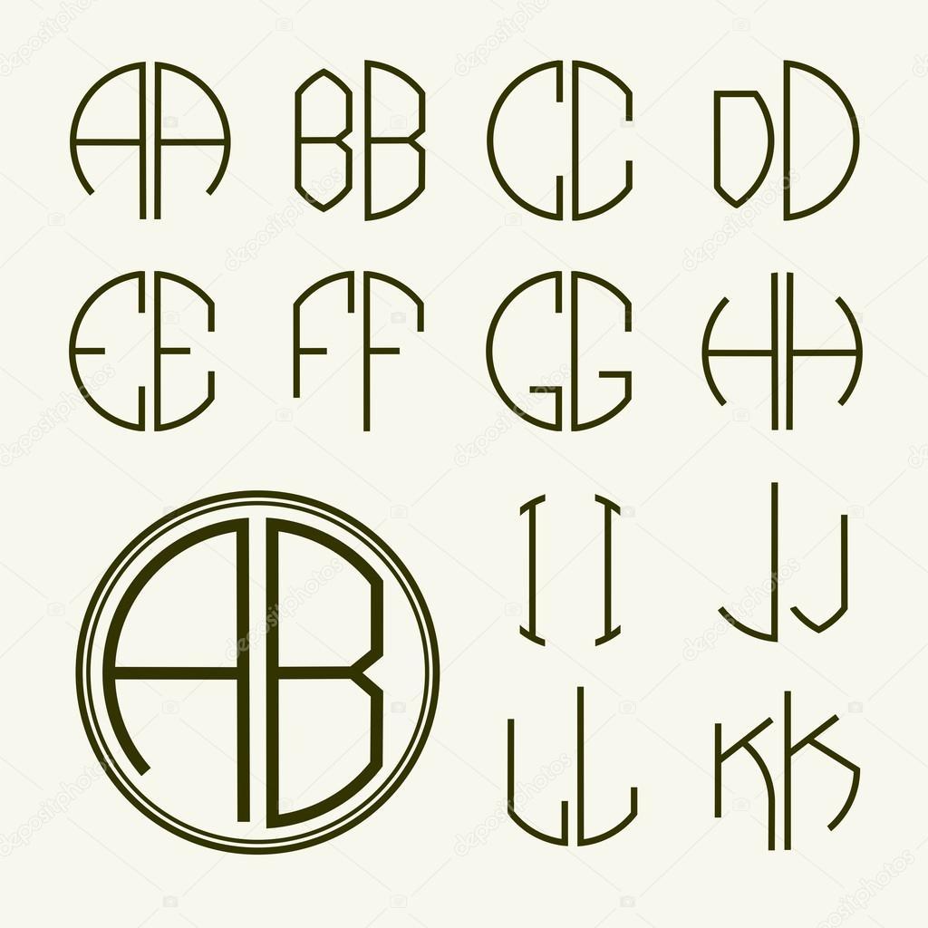 Satz Der Vorlage Briefe Erstellen Monogramme Stockvektor Pgmart