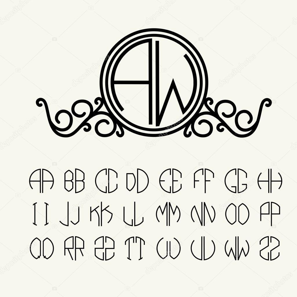 Juego de cartas de plantilla para crear monogramas — Vector de ...