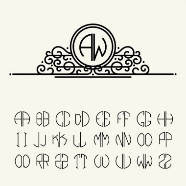 Set of template letters for monograms