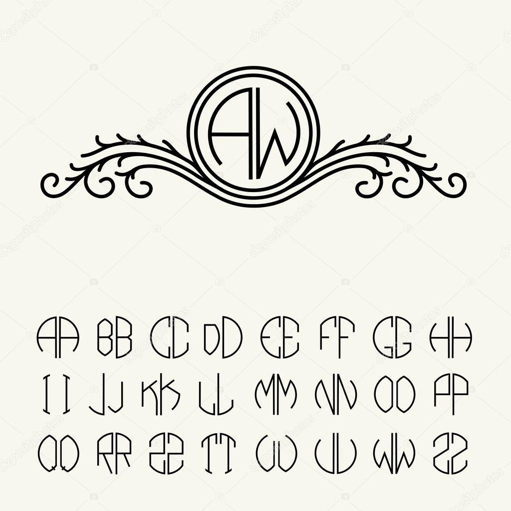 Vector Monograma Conjunto De Plantillas De Letras Para Monogramas