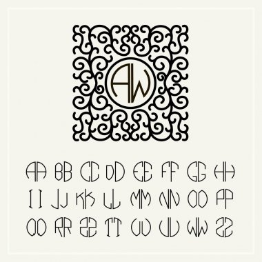 Set of monograms letters