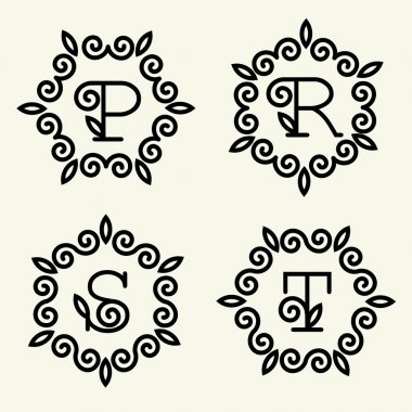 letters p, r, s, t for monogram design