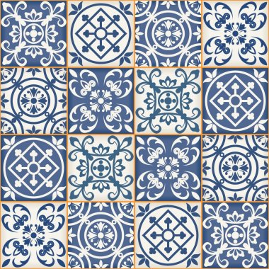 Gorgeous seamless patchwork pattern from dark blue and white Moroccan tiles, ornaments. Can be used for wallpaper, pattern fills, web page background,surface textures. stock vector