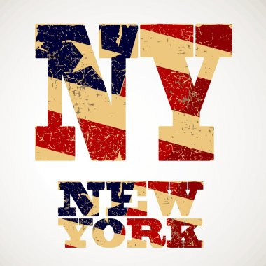 Vintage lettering NY and flag