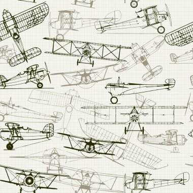 Vintage seamless background with airplanes