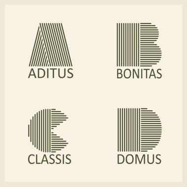 Capital letters A, B, C, D