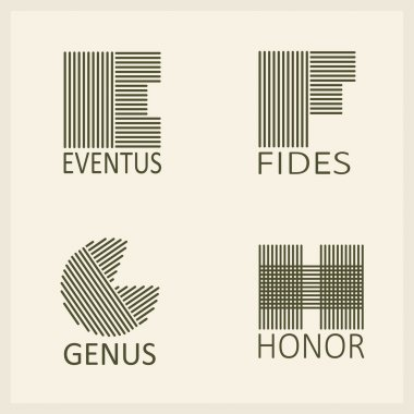 Capital letters E, F, G, H