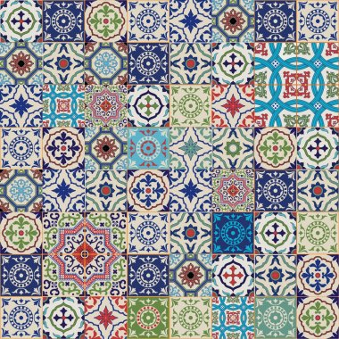 Mega Gorgeous seamless patchwork pattern from colorful Moroccan, Portuguese  tiles, Azulejo, ornaments.. Can be used for wallpaper, pattern fills, web page background,surface textures. stock vector