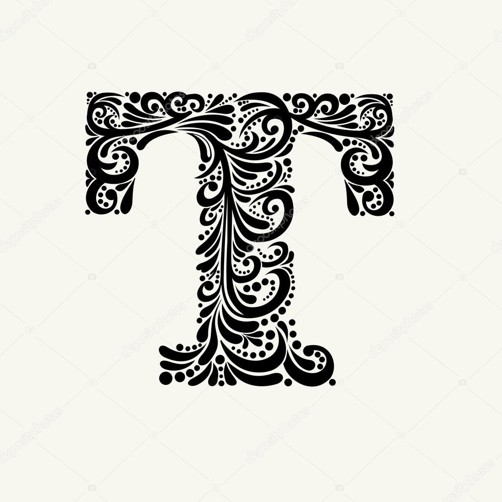 Elegant Capital Letter T Stock Vector