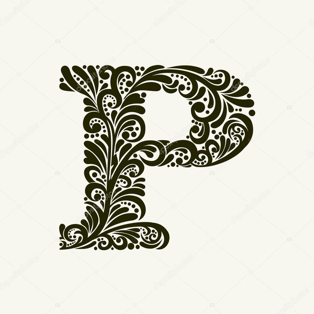 Elegant Capital Letter P Stock Vector