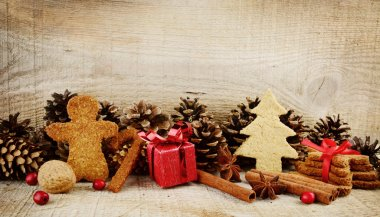 Christmas atmosphere scenery with santa claus,red gift on wooden