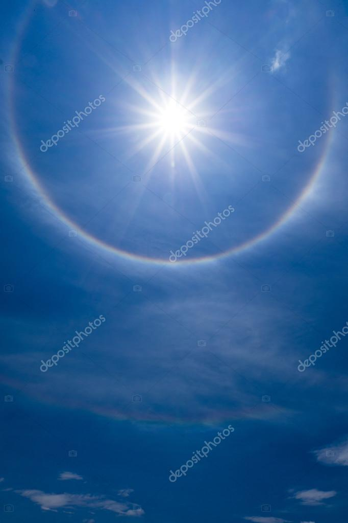 Sun halo with cloud in the sky