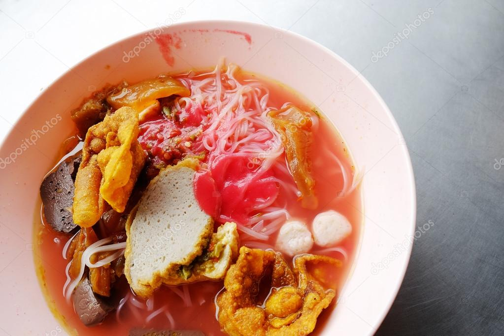 Yong Tau Foo Asian Noodle In The Red Soup Stock Photo