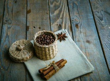 coffee beans in a box