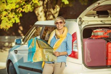 """Картина, постер, плакат, фотообои """"девушка путешествует на машине """", артикул 85914318"""