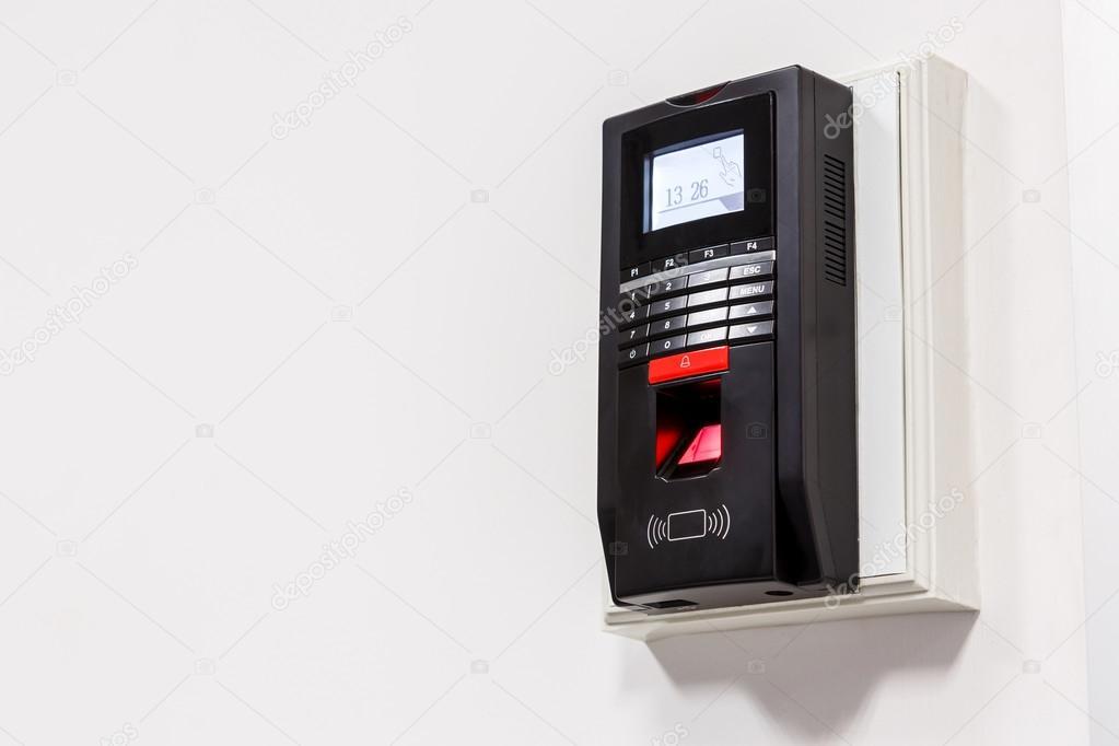 Finger print scan for unlock door security system \u2014 Stock Photo & Finger print scan for unlock door security system \u2014 Stock Photo ...