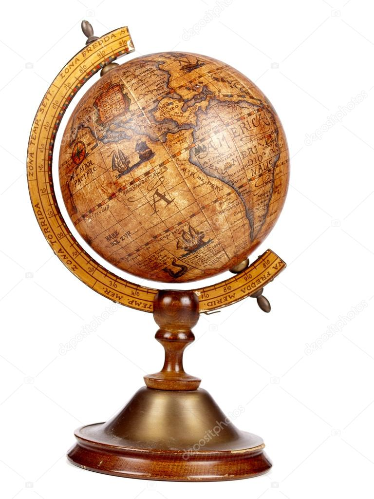 an old brown vintage globe on a small stand stock photo wtolenaars 53906309. Black Bedroom Furniture Sets. Home Design Ideas