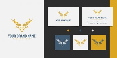 Elegant yellow deer head logo design with line art concept icon