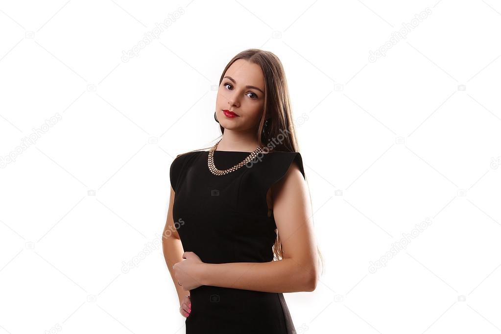 dba30e8662dd Ritratto di una bella ragazza in un tubino nero isolato su sfondo bianco —  Foto di ...