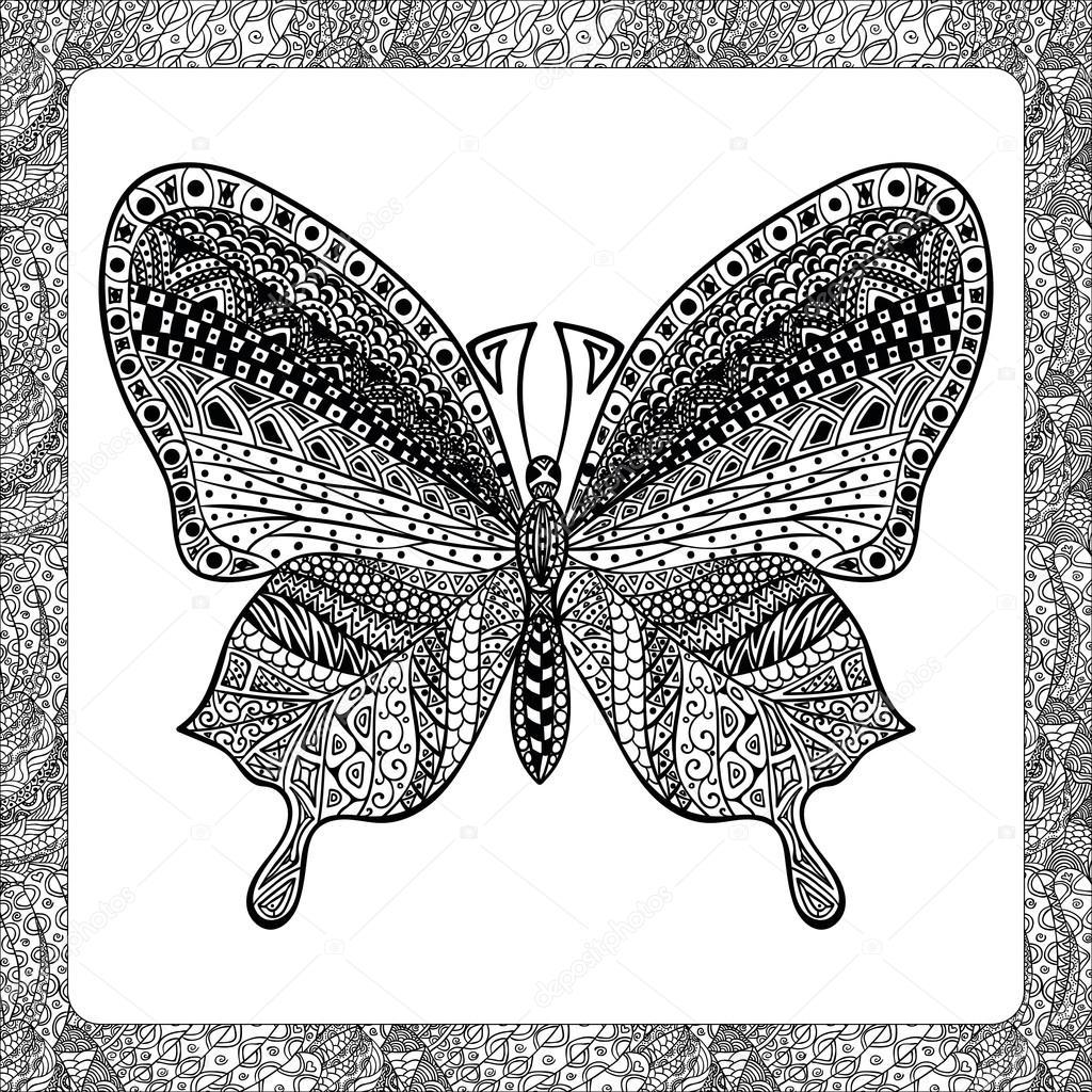 Página para colorear de mariposa Balck, zentangle illustartion ...
