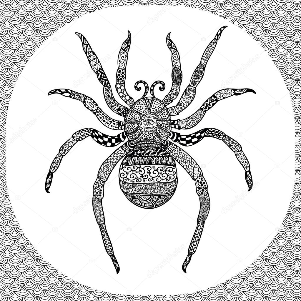 Balck örümcek Zentangle Esnaf Boyama Sayfası Stok Vektör