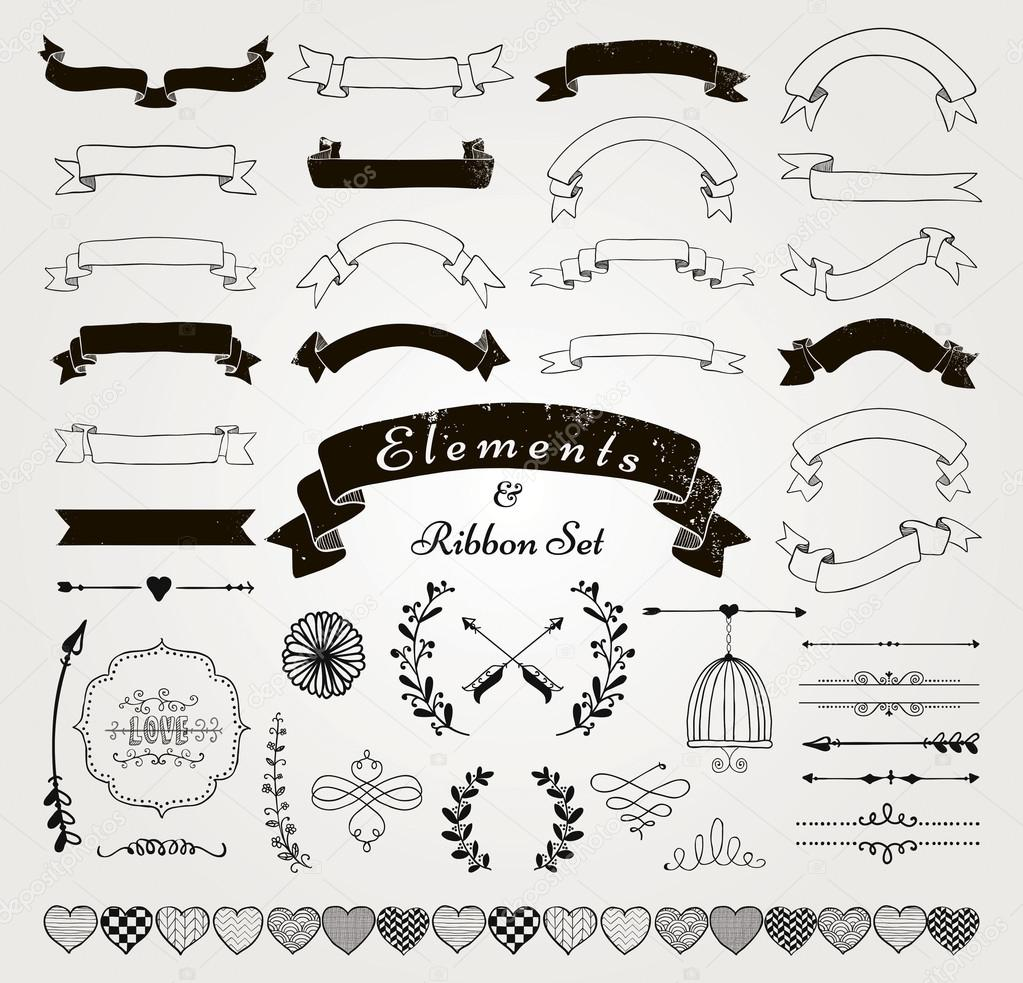Vector Black Hand gezeichnet Design-Elemente und Bänder Set ...
