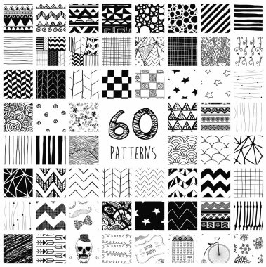 Sixty Abstract Hand Drawn Geometric Black Seamless Pattern Swatches with Transparent Background clip art vector
