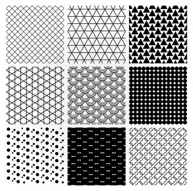 Set of 9 Black Geometric Monochrome Seamless Backgrounds with Pattern Swatches. Transparent Background. Vector Illustration clip art vector