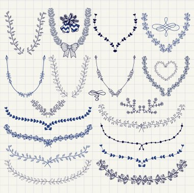 Vector Pen Drawing Floral Wreaths, Laurels