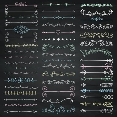 Vector Black Chalk Drawing Dividers, Arrows, Swirls