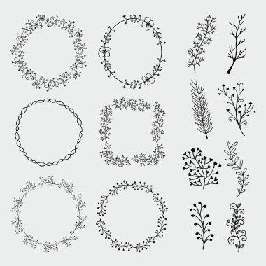Vector Hand Sketched Frames, Borders, Design Elements