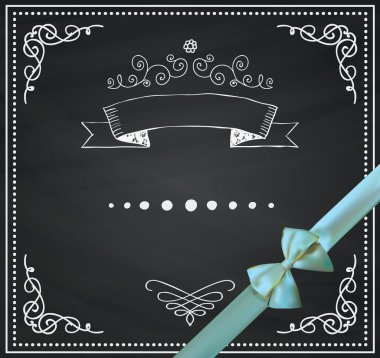 Vector Chalkboard Card with Doodle Hand Sketched Elements