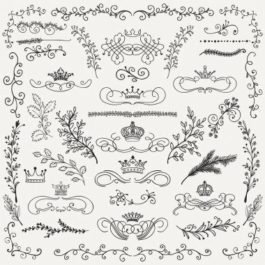 Vector Black Hand Drawn Floral Design Elements, Crowns