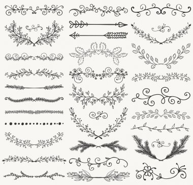 Set of Hand Drawn Black Doodle Design Elements. Decorative Floral Dividers, Arrows, Swirls, Laurels and Branches. Vintage Vector Illustration. Pattern Brashes clip art vector