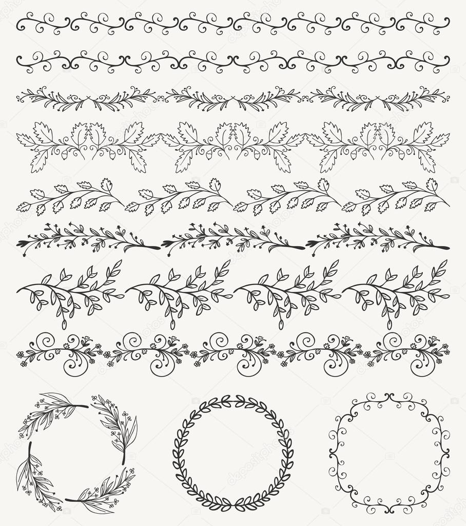 Hand Sketched Seamless Borders, Frames, Dividers, Swirls