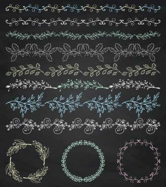 Chalk Drawing Seamless Borders, Frames, Dividers, Branches