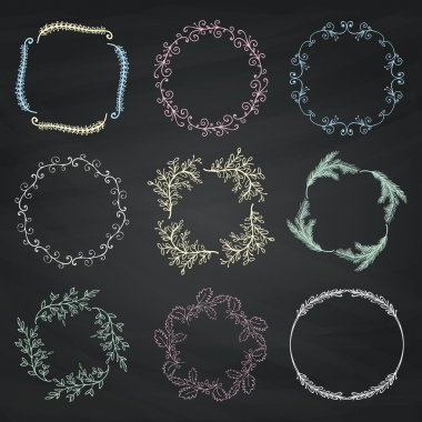 Set of Vector Chalk Drawing Floral Borders, Frames