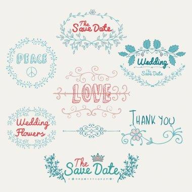 Sketched Romantic Colorful Vector Design Elements.