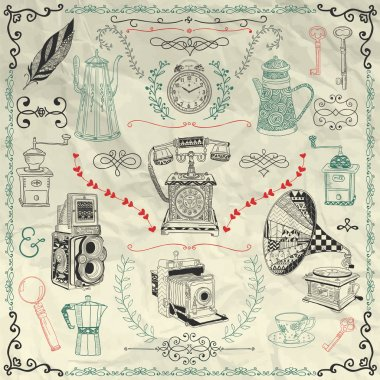 Vector Vintage Icons and Objects on Crumpled Paper