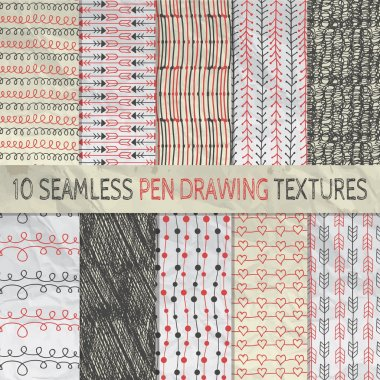 Pen Drawing Seamless Patterns on Crumpled Paper Texture