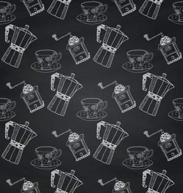 Vintage Chalk Drawing Seamless Pattern on Board Texture