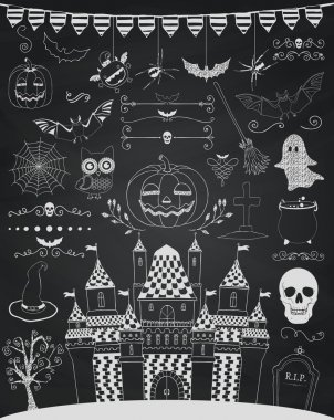 Vector Chalk Drawing Hand Sketched Doodle Halloween Icons