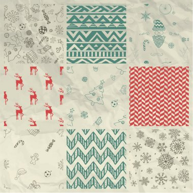 Christmas Seamless Background Set on Crumple Paper