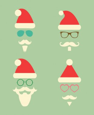 Santa Claus Fashion Silhouette Hipster Style Icons